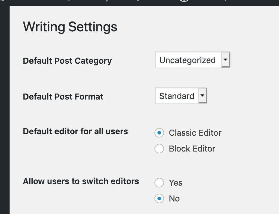 screenshot of editor settings page